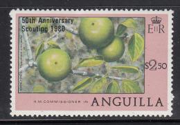 Anguilla MNH Scott #388 $2.50 Manchineel Overprinted '50th Anniversary Scouting 1980' - Anguilla (1968-...)