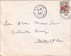ALPES MARITIMES - BOUYON - LE 2-7-1965 / 30c COQ. - Postmark Collection (Covers)