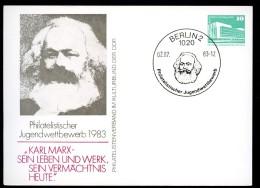 DDR PP18 C1/001 Privat-Postkarte Karl Marx Berlin Sost. 1983 - Karl Marx