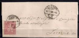 1868, SUIZA, YV. 43 CARTA CIRCULADA DE LUGANO A LOCARNO,  MATASELLOS FECHADOR DE LUGANO - 1862-1881 Sitted Helvetia (perforates)