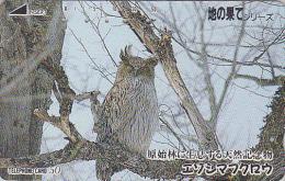 Télécarte Japon - Oiseau HIBOU CHOUETTE / Modèle 1 Encoche - OWL Bird Japan Phonecard - EULE Vogel Telefonkarte - 3606 - Eulenvögel