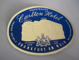 HOTEL PENSION HAUS CARLTON FRANKFURT MAIN GERMANY DEUTSCHLAND TAG DECAL STICKER LUGGAGE LABEL ETIQUETTE AUFKLEBER BERLIN