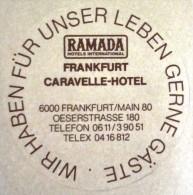 HOTEL PENSION HAUS RAMADA FRANKFURT GERMANY DEUTSCHLAND TAG DECAL STICKER LUGGAGE LABEL ETIQUETTE AUFKLEBER BERLIN