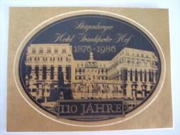 HOTEL PENSION STEIGENBERGER FRANKFURT GERMANY DEUTSCHLAND TAG DECAL STICKER LUGGAGE LABEL ETIQUETTE AUFKLEBER BERLIN