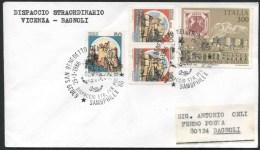 1986 Italia, Dispaccio Straordinario Porto D'ascoli Da San Benedetto, Tratta Vicenza - Bagnoli - Francobolli