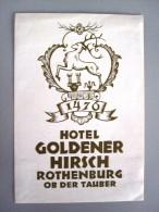 HOTEL PENSION GOLDENER HIRSCH ROTHENBURG GERMANY DEUTSCHLAND TAG DECAL STICKER LUGGAGE LABEL ETIQUETTE AUFKLEBER BERLIN