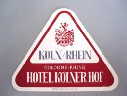 HOTEL PENSION HAUS KOLNER HOF PLATZ KOLN GERMANY DEUTSCHLAND TAG DECAL STICKER LUGGAGE LABEL ETIQUETTE AUFKLEBER BERLIN - Hotel Labels