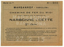 SPAGNA  MARSANROF - BARCELONA TRATTA NARBONNE - CETTE  27/02/1913