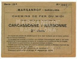 SPAGNA  MARSANROF - BARCELONA TRATTA CARCASSONE - NARBONNE  27/02/1913