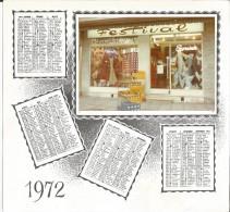 Calendrier 1972 Avec Repiquage Photographie Boutique De MODE FEMININE ( Maquette ) - Calendriers