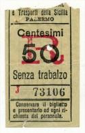 SOCIETA´ SICULE IMPRESE ELETTRICHE DI PALERMO SOLO RITORNO CENT. 50 1927 - Tramways