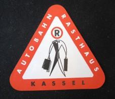 HOTEL PENSION HAUS AUTO KASSEL GERMANY DEUTSCHLAND TAG DECAL STICKER LUGGAGE LABEL ETIQUETTE AUFKLEBER BERLIN - Hotel Labels