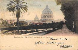 [DC5960] CARTOLINA - ROMA - GIARDINI DEL VATICANO E CUPOLA DI SAN PIETRO - Viaggiata 1901 - Old Postcard - San Pietro