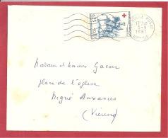 Y&T N°1270 LA ROCHE POSAY   Vers  AUXERRE  Le     05 SEPTEMBRE 1961   2 SCANS - Marcophilie (Lettres)
