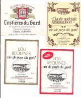 """Etiquettes Vin De Pays Du GARD """"les Vignerons De Carnas """" Et Costières Du GARD Claude Audebert, Maitre échanson - - Languedoc-Roussillon"""