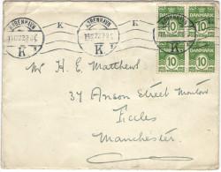 DANIMARCA - DANMARK - 1922 - Block Ok 4 X 10 - Viaggiata Da Kobenhavn Per Manchester, England - Briefe U. Dokumente