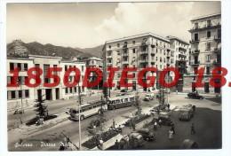 SALERNO - PIAZZA MALTA  F/GRANDE VIAGGIATA ANIMATA CON CORRIERE ED AUTO D'EPOCA - Salerno