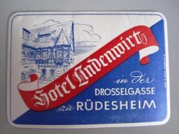 HOTEL PENSION HAUS LINDENWIRT RUDESHEIM GERMANY DEUTSCHLAND TAG STICKER LUGGAGE LABEL ETIQUETTE AUFKLEBER BERLIN - Hotel Labels