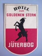 HOTEL PENSION NO NAME GOLDENEN STERN JUTERBOG GERMANY DEUTSCHLAND TAG STICKER LUGGAGE LABEL ETIQUETTE AUFKLEBER BERLIN - Hotel Labels