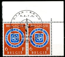 BE   1496   Obl   -----   Premier Jour / Eerste Dag  Bruxelles   --  Coin De Feuille En Paire  --  Pleine Gomme - Belgium