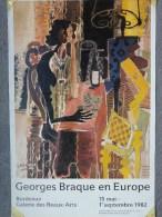 33 - BORDEAUX - AFFICHE GEORGES BRAQUE EN EUROPE- GALERIE DES BEAUX ARTS- 1982