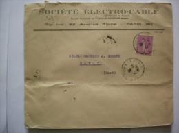 PARIS 17-12 30 SEMEUSE LIGNEE 75c ENVELOPPE SOCIETE ELECTRO-CABLE 62 AVENUE D´IENA PARIS 16e - Marcophilie (Lettres)
