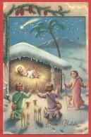 CARTOLINA VG ITALIA - BUON NATALE - Pastorelli E Gesù Bambino - 9 X 14 - ANNULLO 1954 CARIGNANO - Natale