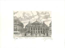 POINTE SUR CUIVRE SIGNEE ET NUMEROTEE 127/200 PARIS OPERA 1984 - Prenten & Gravure
