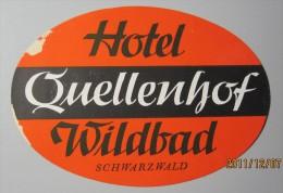 HOTEL PENSION SCHWARTZWALD QUELLENHOF GERMANY DEUTSCHLAND TAG DECAL STICKER LUGGAGE LABEL ETIQUETTE AUFKLEBER BERLIN - Hotel Labels