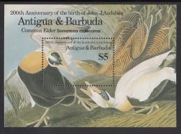 Antigua MNH Scott #914 Souvenir Sheet $5 Common Eider Duck - Audubon - Antigua Et Barbuda (1981-...)