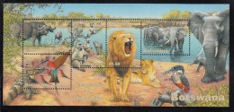 Botswana MNH Scott #730a Souvenir Sheet Of 5 Buffalo, Elephant, Lion, Baboon, Water Monitor, Bee-eater - Botswana (1966-...)