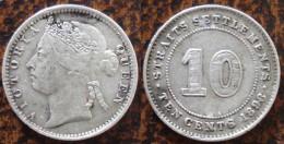 (J) STRAITS SETTLEMENTS: Silver 10 Cents 1898 XF (1753)  SALE!!!!! - Colonias