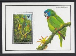 Dominica MNH Scott #1547 Souvenir Sheet $6 Amazona Arausiaca Red-necked Parrot - Birds Of Dominica - Dominica (1978-...)