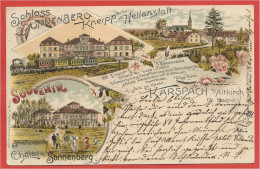 68 - SOUVENIR De KARSPACH - CARSPACH - Schloss Sonnenberg - Kneipp Heilanstalt - Litho Couleur Multivues - Train - Francia