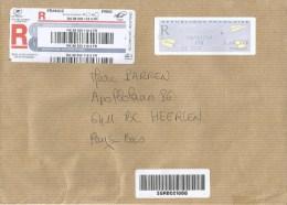 France 2014 Trets EMA Post Office Meter Franking Avions En Papier Barcoded Registered Cover - 2000 «Avions En Papier»