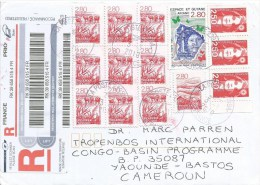 France 2010 Paris Ariana Space Station Rocket Cows Barcoded Registered Cover - Brieven & Documenten