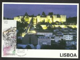 Portugal Carte Maximum Timbre Avec VRAIE SOIE Château Lisbonne 2013 Maxicard Stamp With REAL SILK Engraved Lisbon Castle - Castles