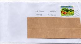 """2009--tp Adhésif """"Régions  Fruits""""--Basse Normandie--La Pomme  Seul Sur Lettre-- - Postmark Collection (Covers)"""
