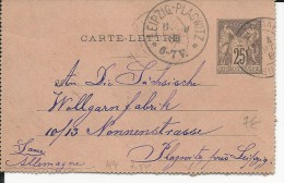 1888 - CARTE-LETTRE ENTIER POSTAL SAGE De CLICHY Pour LEIPZIG - Biglietto Postale