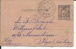 1888 - CARTE-LETTRE ENTIER POSTAL SAGE De CLICHY Pour LEIPZIG