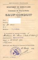 Vieux papiers - Sauf-conduit - Sa�ne-et-Loire - Mairie de Ciry-le-Noble - Ao�t 1914 - Bon �tat
