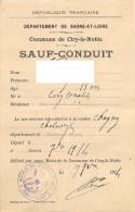 Vieux papiers - Sauf-conduit - Sa�ne-et-Loire - Mairie de Ciry-le-Noble - Septembre 1914 - Bon �tat