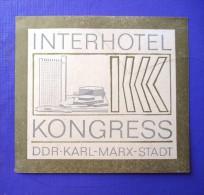 HOTEL HAUS INTER KONGRESS KARL MARX DDR EAST GERMANY DEUTSCHLAND DECAL STICKER LUGGAGE LABEL ETIQUETTE AUFKLEBER BERLIN - Hotel Labels