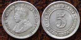 (J) STRAITS SETTLEMENTS: Silver 5 Cents 1926 XF (2763) - Colonies