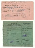 """N. 2 BIGLIETTI """" TRANVIE A VAPORE """" n. 12987-11970 BOLOGNA-PIEVE DI CENTO-MALALBERGO"""