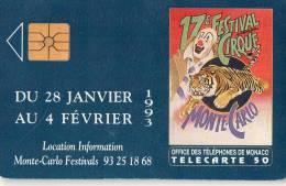 TELECARTE MONACO 17e Festival Du Cirque - Monaco