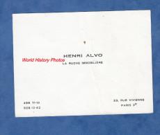 Carte De Visite Ancienne - PARIS 2e - Henri ALVO , La Ruche Immobiliére - 33 Rue Vivienne - Visitenkarten