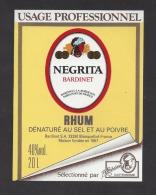 Etiquette De Rhum Dénaturé - Negrita  ( Auto Collant)  -    Bardinet  à  Blanquefort  (33) - Rhum