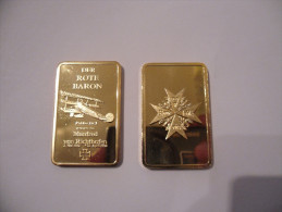 WW1 GERMAN DER ROTE BARON RED BARON FOKKER DR.I LINGOTTO ORO.999 24 KT PLACCATO - Germania