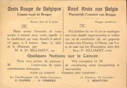 Uitnodiging Rode Kruis - Croix Rouge Belgique - Voordracht Dr Billiaert - 1929 - Non Classés